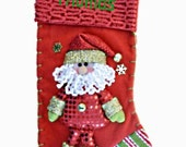 Personalized Christmas Stocking  Dangle Legs Puffy Santa  17 inches tall