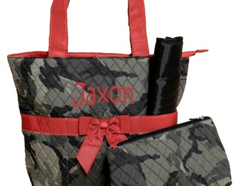 SALE Personalized Camo Diaper Bag Set 3pc set Camo with red trim Monogrammed FREE