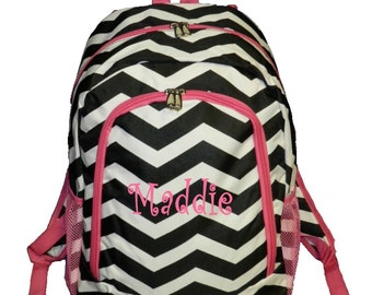 Personalized Chevron Backpack Girls Booksack Black and White with  Pink Trim Zig Zag Full Size School Backpack Monogrammed FREE