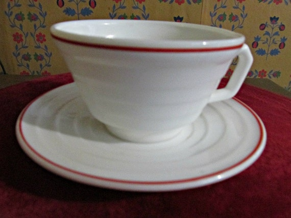 Vintage Hazel Atlas Cup and Saucer White with Red Trim 1930's or1940's Depression Houseware Collectible