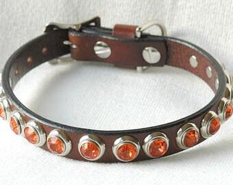 Brown Leather Dog Collar, Orange Jewels. Leather dog collar wth Orange Rivets, Recycled leather dog collar, Sizes Medium thru XL