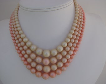 Vintage Pink Necklace, 4 Strand, Shades of Pink, Pale Pink, 1950's, 1960's, Retro
