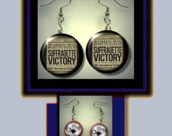 Suffrage SUFFRAGETTE Victory Women's right to vote Altered Art Dangle Earrings with Rhinestone