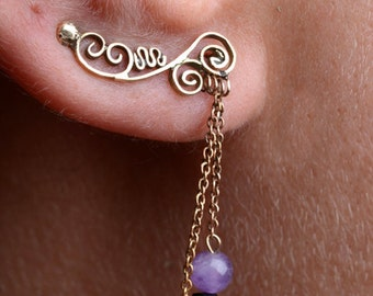 14k gold earrings with amethyst&onyx beads