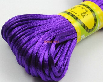 20 Yards 2.5mm Purple Chinese Knot Cord Bracelet Cord Bead Cord (ZGJX1)