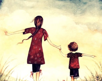"""Mother and son """"our path"""" art print, gift idea mother's day"""