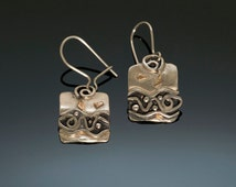 Silver Fish Water Gold Earrings - Spirals Water Fish Waves - Black Patina - Casual Silver Earrings - Matching Necklace - Handmade BC Canada