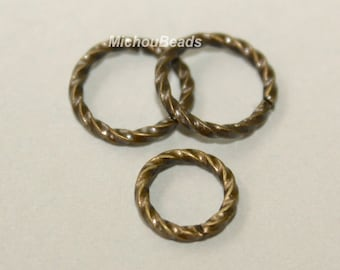 6 ANTIQUED Gold 10mm / 16 Gauge Twist JUMPRINGS - Open Textured Jump Ring Links - Usa Wholesale Findings - Instant Ship from USA - 5469