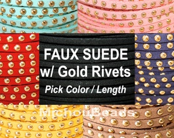 Pick COLOR / LENGTH - 5x1.5mm Microfiber Faux Suede Lace Cord w/ Gold Rivet Accents - Wholesale Cord By the Yard - Instant Ship from USA