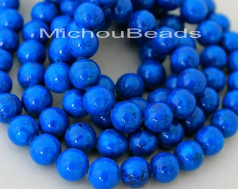 12 BLUE 8mm Natural RIVERSTONE - Round Opaque Natural River Stone Gemstone Wholesale Bead -  Instant Ship from USA  - 5289