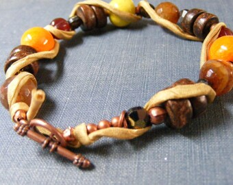 Autumn Winds Bracelet:  Gorgeous Orange and Lime Enameled Beads  Agate Wood and Mustard Yellow Silk