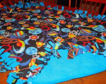 Items similar to space monkey knot fleece blanket on etsy for Outer space fleece