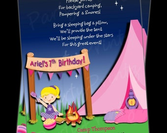 Printable GLAMping Invitations -  Personalized -  Custom - Girl Birthday Sleepover -  GLAM  Camping (BLONDE HAIR)
