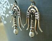 Art Deco Jewelry - Wire Wrapped Jewelry - Wire Wrap Earrings - Pearl Earrings - Bridal Earrings - Wedding Jewelry - Vintage Style - Gift