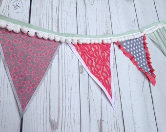 Coral, Gray, Mint and White Pennant Banner Bunting for Photo Prop, Cake Smash, Birthday Parties, Weddings, Room Decoration