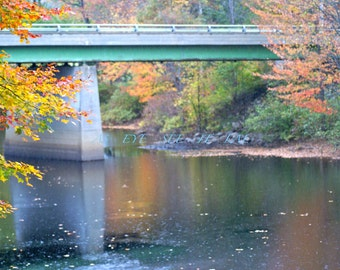 Pretty NEW HAMPSHIRE Foliage with bridge 5x7 photo greeting card, blank inside