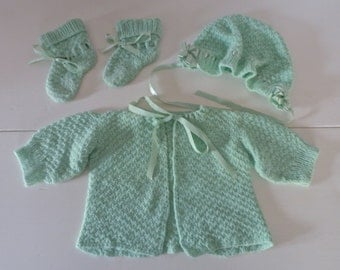 Baby Clothes Vintage 1960s Green Hand Knit Sweater, Bonnet and Booties