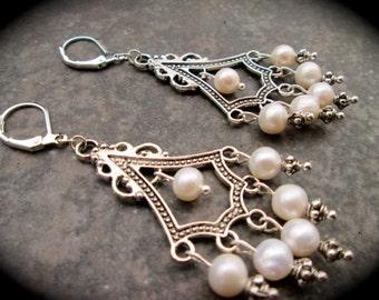 Freshwater Pearl Chandelier Earrings Wedding Bridal Jewelry Prom Jewelry Pearl Earrings