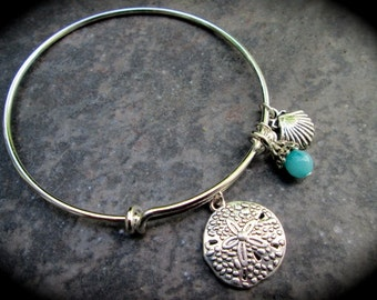 Sand Dollar and Shell Adjustable Wire Bangle Bracelet Aquamarine Jade charm Beach theme bracelet