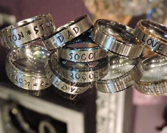 Hand stamped Stainless steel ring