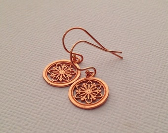 Flower Earrings in Rose Gold Color with Rose Gold Fill Ear Wires -Rose Gold Flower Earrings
