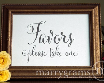 Wedding Favors Table Card Sign - Please Take One -Wedding Reception Seating Signage - Adorable Chalkboard Style, Matching Numbers Avail SS07