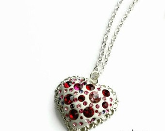 Heart of A Liar Necklace designed especially to gift the Stylist of the show Pretty Little Liars - Red Swarovski crystals,  heart pendant,