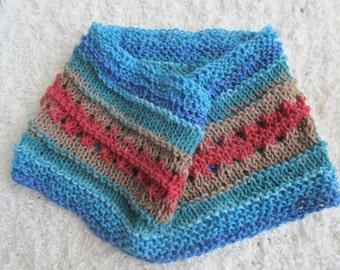 Multicolored Cottonblend Handknit Cowl