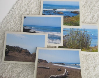 Five Blank Notecards with Beach Photos