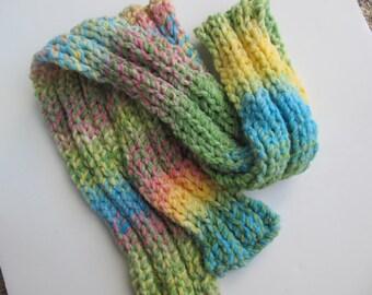Pastel Handknit Scarf, Soft Multifiber Yarn