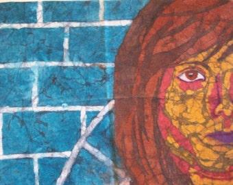 Brick: Original Crayon Batik Portrait - SALE