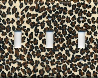 Cheetah Animal Print Triple Light Switch Plate