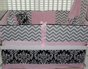 Adelle Custom baby bedding 6 pc set black damask with baby pink and chevron