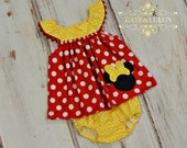 Red and Yellow Minnie Birthday dress with matching bloomers- Minnie Dress - Girls Birthday Dress