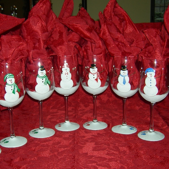 Holiday snowman party hand painted wine glasses for Christmas glass painting designs