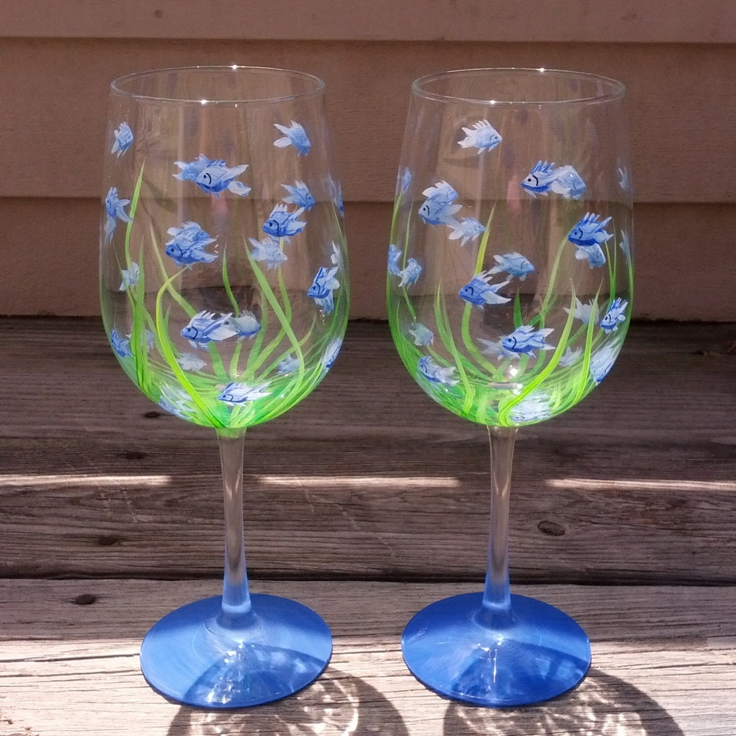 little blue fish hand painted wine glasses