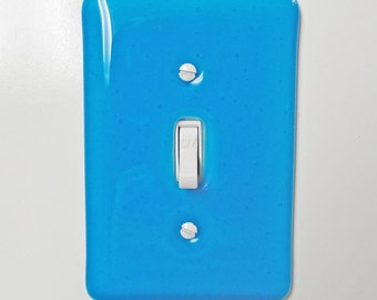 Fused Glass Light Switch Plate Turquoise Blue Home Decor Glass Art Kitchen Bathroom Bedroom Light Plate Outlet Cover