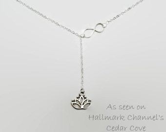 Infinity link Lotus Necklace as featured on the Hallmark Series Cedar Cove, silver plated chain link necklace, dainty necklace