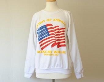 Vintage Spirit of America American Flag Sweatshirt Small to Medium