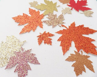 """Autumn Glitter Leaves ~ 1.5"""" to 2.25"""" Confetti  Wedding / Thanksgiving Table Decor ~ 50 Pieces ~ Fall Colors"""