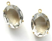 Two Pieces - 16x11mm Black Diamond Glass Jewels in Brass Drop Settings