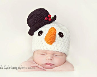 PDF Crochet Pattern - newborn photography Christmas snowman hat #64