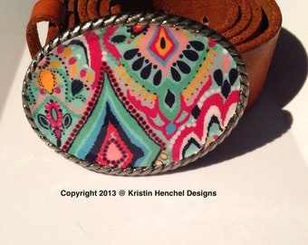 Kristin Henchel belt buckle - navy, mint, hot pink, yellow and white print #227