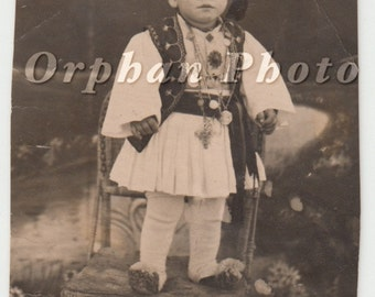 Vintage/Antique postcard photo of a boy in an elaborate beautiful costume/attire