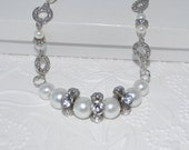 SALE Chunky Pearl and Rhinstone Wedding Necklace