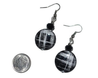 Gifts for her, under 20, Black / Silver Plaid Circles OOAK Original Design