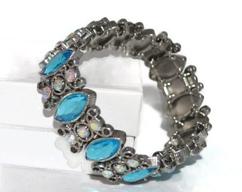 Aqua Blue and Silver Crystal Bracelet Hand-Beaded Stretchy Fits All