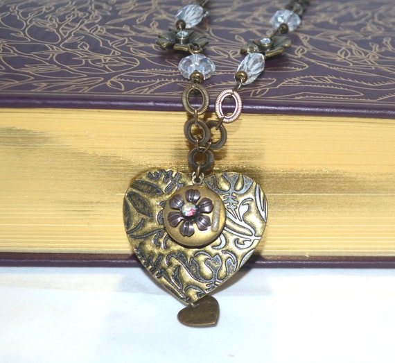 Heart n Circle Locket Necklace OOAk Original Design Upcycled