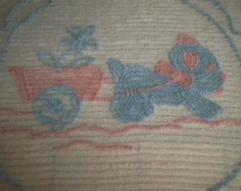 Vintage Chenille BABY Blanket / Crib Bedspread with KITTEN Pulling a Cart of FLOWERS - Free Shipping