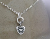 Sterling Silver Heart Necklace, Rustic tiny pendant, love sweet pendant.